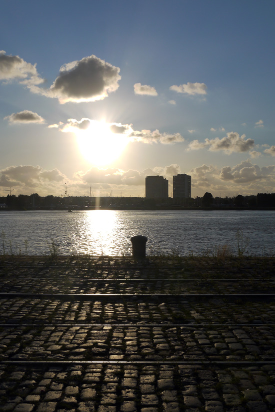 Antwerp, sunset on Scheldt