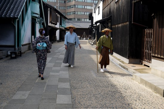 Nagasaki, people wearing traditional clothers in Dejima