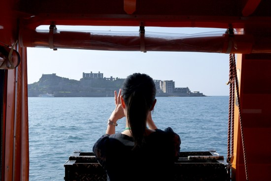 Nagasaki, taking a picture of Gunkanjima from boat
