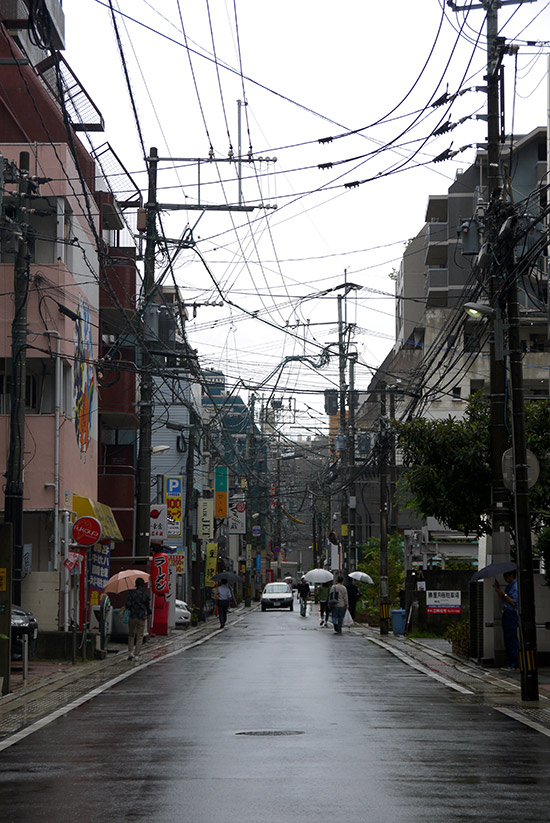 Fukuoka, Daimyo street under the rain