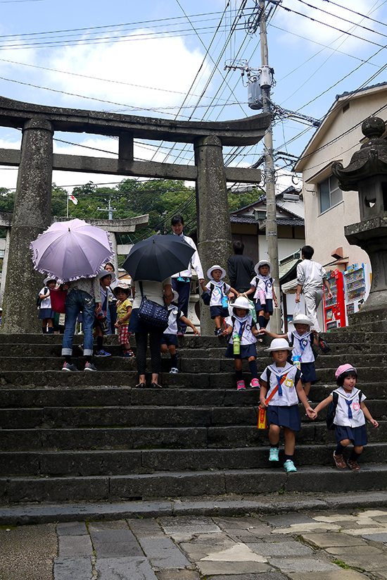 Nagasaki, children leaving Suwa shrine