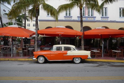 Miami, South Beach, Orange old car