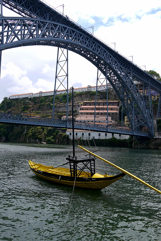 Porto, Ponte de D Luis I and yellow boat